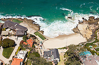 Aerial Stock Photos of Laguna Beach Ocean Front Residences and Secluded Beach