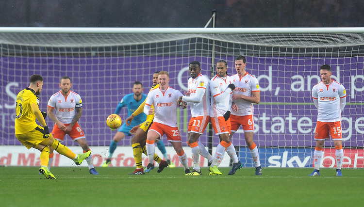 Oxford United's Marcus Browne hits a free kick over the bar<br /> <br /> Photographer Kevin Barnes/CameraSport<br /> <br /> The EFL Sky Bet League One - Oxford United v Blackpool - Saturday 15th December 2018 - Kassam Stadium - Oxford<br /> <br /> World Copyright © 2018 CameraSport. All rights reserved. 43 Linden Ave. Countesthorpe. Leicester. England. LE8 5PG - Tel: +44 (0) 116 277 4147 - admin@camerasport.com - www.camerasport.com