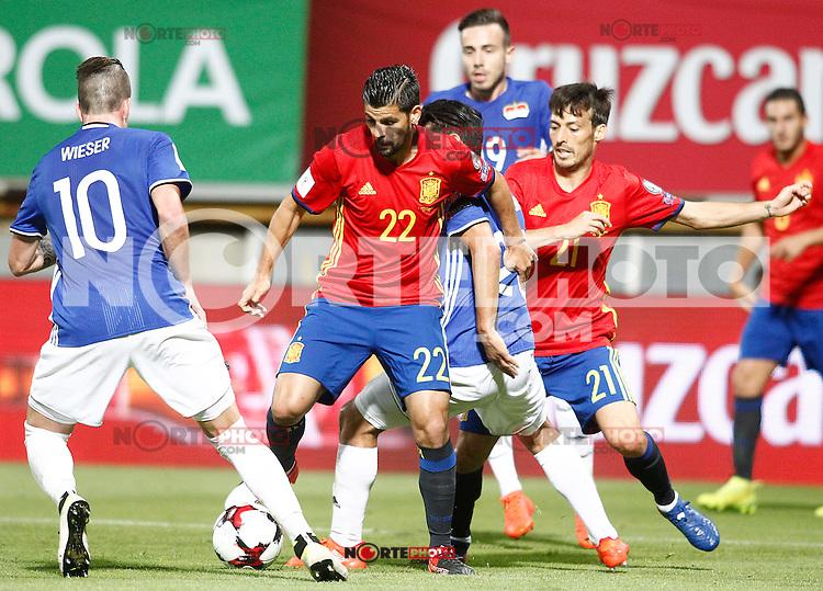 Spain's Nolito (2l) and David Silva (r) and Liechtenstein's Sandro Wieser (l), Michele Polverino (c-r) and Dennis Salanovic (2r) during FIFA World Cup 2018 Qualifying Round match. September 5,2016.(ALTERPHOTOS/Acero) /NORTEPHOTO