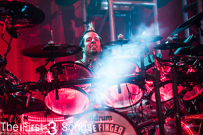 Jeremy Spencer of Five Finger Death Punch performs during the 2013 Mayhem Festival at Klipsch Music Center in Indianapolis, Indiana.