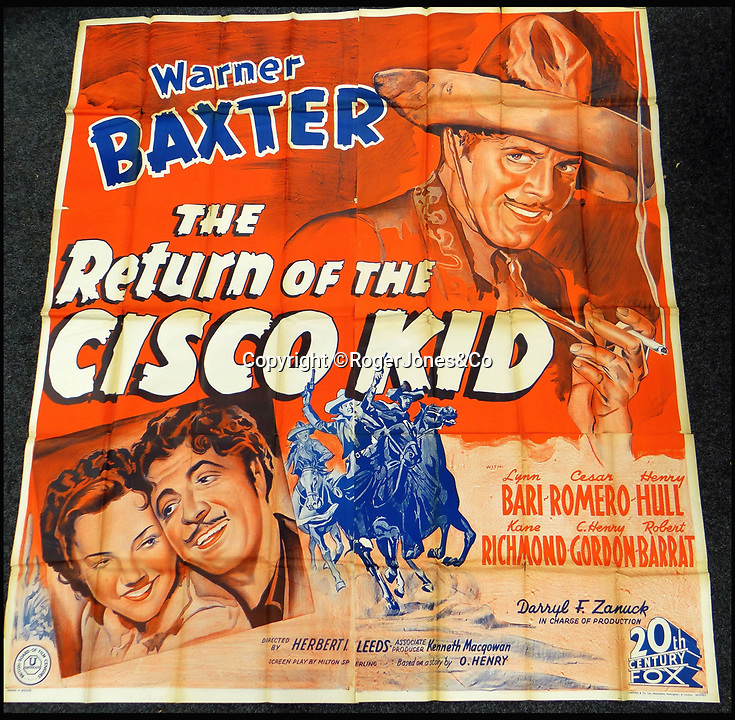 BNPS.co.uk (01202 558833)<br /> Pic: RogerJones&Co/BNPS<br /> <br /> The Return of the Cisco Kid, 1939.<br /> <br /> A rare collection of 1930s and 40s cinema posters discovered by two builders after they were used as carpet underlay have sold for a whopping £75,000.<br /> <br /> More than half the total was made on a single poster, John Wayne's breakthrough film Stagecoach (1939), which sold for £31,000.<br /> <br /> The classic Hollywood movie posters, which were in near pristine condition, are from the halcyon days of cinema and included well known names such as Alfred Hitchcock, Sir Laurence Olivie and Boris Karloff.<br /> <br /> Before the sale auctioneers Rogers Jones & Co said it was difficult to predict what the posters would sell for as no comparisons had ever come to market but the collection of about 120 posters was expected to fetch several thousands.<br /> <br /> Two builders made the discovery in 1985 when they were renovating the home of a local cinema owner who had died in Penarth, south Wales.