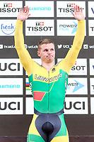 Picture by Alex Whitehead/SWpix.com - 10/12/2017 - Cycling - UCI Track Cycling World Cup Santiago - Velódromo de Peñalolén, Santiago, Chile - Lithuania's Vasilijus Lendel wins Gold in the Men's Sprint final.