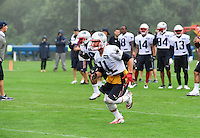 Wednesday, July 27, 2016: New England Patriots wide receiver Julian Edelman (11) runs a route at a joint training camp practice between New England Patriots and  the New Orleans Saints  training camp held Gillette Stadium in Foxborough Massachusetts. Eric Canha/CSM