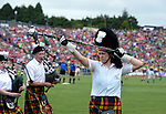 2-7-2017: The Millstreet Pipe Band leads the teams at the Kerry V Cork Munster Football final in Killarney on Sunday.<br /> Photo: Don MacMonagle