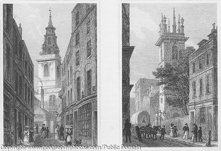 Churches St Michael, Crooked Lane, St Mary Somerset, Upper Thames Street,  engraving 'Metropolitan Improvements, or London in the Nineteenth Century' London, England, UK 1828 , drawn by Thomas H Shepherd