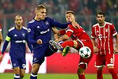 September 12th 2017, Munich, Germany, Champions League football, Bayern Munich versus Anderlecht;  Lukasz Teodorczyk forward of RSC Anderlecht challenges Joshua Klimmich of Bayern Munchen