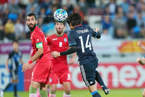 Yuta Toyokawa (JPN), <br /> JANUARY 22, 2016 - Football / Soccer : <br /> AFC U23 Championship Qatar 2016 <br /> Quarter-final match between <br /> Japan 3-0 Iran <br /> at Abdullah Bin Khalifa Stadium in Doha, Qatar. <br /> (Photo by Yohei Osada/AFLO SPORT)