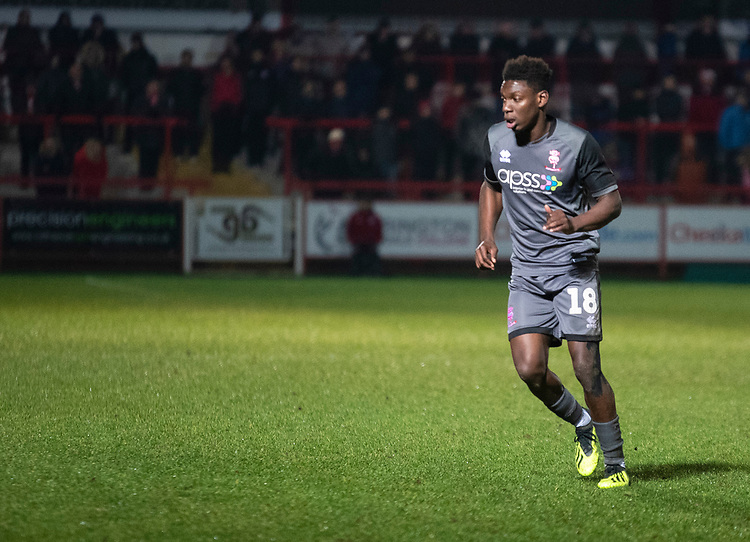 Lincoln City's Bernard Mensah<br /> <br /> Photographer Andrew Vaughan/CameraSport<br /> <br /> The EFL Checkatrade Trophy Second Round - Accrington Stanley v Lincoln City - Crown Ground - Accrington<br />  <br /> World Copyright © 2018 CameraSport. All rights reserved. 43 Linden Ave. Countesthorpe. Leicester. England. LE8 5PG - Tel: +44 (0) 116 277 4147 - admin@camerasport.com - www.camerasport.com