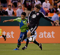 Dejan Jakovic, Fredy Montero. The Seattle Sounders defeated DC United, 2-1, to win the 2009 Lamr Hunt U.S. Open Cup at RFK Stadium in Washington, DC.