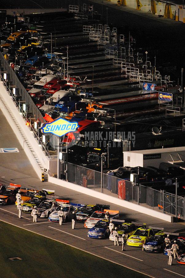 Feb 16, 2007; Daytona, FL, USA; The field of Nascar Craftsman Truck Series drivers prior to the Chevy Silverado 250 at Daytona International Speedway. Mandatory Credit: Mark J. Rebilas