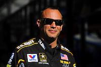 Feb. 17 2012; Chandler, AZ, USA; NHRA top fuel driver Tony Schumacher during qualifying for the Arizona Nationals at Firebird International Raceway. Mandatory Credit: Mark J. Rebilas-