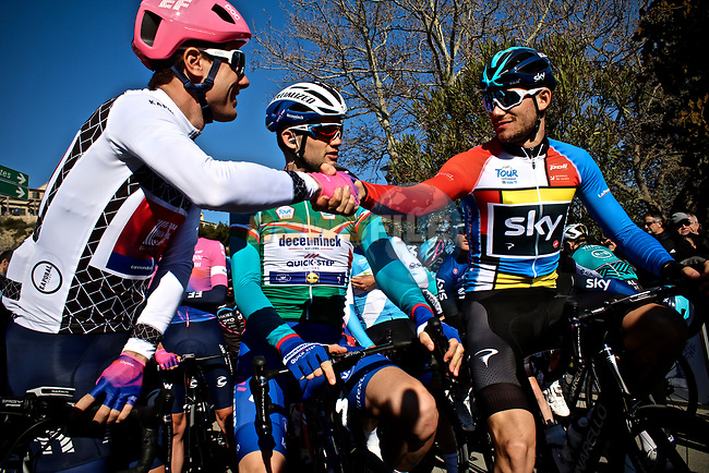 The jersey leaders on the start line of Stage 2 of the 2019 Tour de La Provence, running 195.6km from Istres to La Ciotat, France.<br /> Picture: SHIFT Active Media | Cyclefile<br /> <br /> <br /> All photos usage must carry mandatory copyright credit (© Cyclefile | SHIFT Active Media)