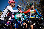 The jersey leaders on the start line of Stage 2 of the 2019 Tour de La Provence, running 195.6km from Istres to La Ciotat, France.<br /> Picture: SHIFT Active Media | Cyclefile<br /> <br /> <br /> All photos usage must carry mandatory copyright credit (&copy; Cyclefile | SHIFT Active Media)