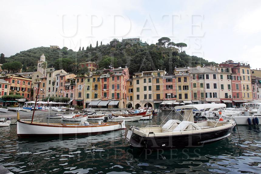 Barche ormeggiate nel porto di Portofino.<br /> Moored boats in the harbor of Portofino.<br /> UPDATE IMAGES PRESS/Riccardo De Luca