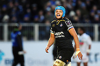 Zach Mercer of Bath Rugby is all smiles after scoring a try. European Rugby Challenge Cup match, between Bath Rugby and Pau (Section Paloise) on January 21, 2017 at the Recreation Ground in Bath, England. Photo by: Patrick Khachfe / Onside Images