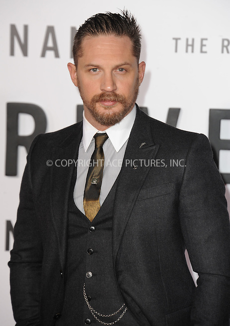 WWW.ACEPIXS.COM<br /> <br /> December 16 2015, LA<br /> <br /> Actor Tom Hardy arriving at the premiere of 'The Revenant' at the TCL Chinese Theatre on December 16, 2015 in Hollywood, California.<br /> <br /> <br /> By Line: Peter West/ACE Pictures<br /> <br /> <br /> ACE Pictures, Inc.<br /> tel: 646 769 0430<br /> Email: info@acepixs.com<br /> www.acepixs.com