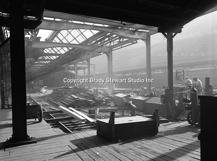 Pittsburgh PA:  View of construction work on the roof of Pittsburgh's Penn Station - 1958.  Brady Stewart Studio was a contract photographer for the Pennsylvania Railroad from 1950 thru 1964.