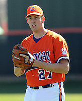 Clemson pitcher Brock Schnabel (27) warms up prior to a game between the Clemson Tigers and Mercer Bears on Feb. 23, 2008, at Doug Kingsmore Stadium in Clemson, S.C. Photo by: Tom Priddy/Four Seam Images