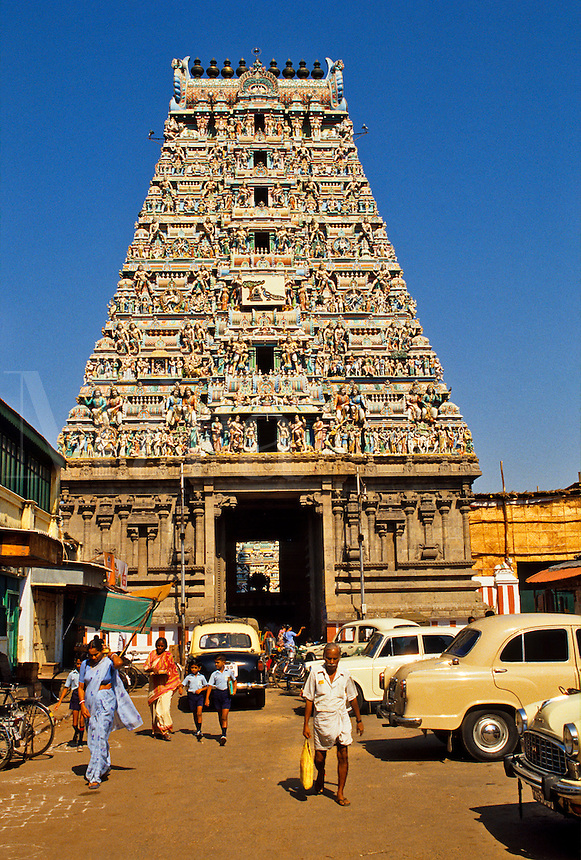 India. Madras/Chennai.  The Gopuram of the Kapaleeswarara Temple at Mylapore.  Hindu temple dedicated to the Godess Shiva.