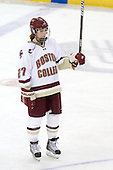 Laura Hart (BC - 27) salutes the fans. - The visiting Boston University Terriers defeated the Boston College Eagles 1-0 on Sunday, November 21, 2010, at Conte Forum in Chestnut Hill, Massachusetts.