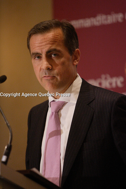 Montreal (QC) CANADA, Sept 25 2008 -<br /> <br /> Mark Carney<br /> , Governor of th Bank of Canada , since Feb 1, 2008, speak at The Canadian Club of Montreal about &quot; Reflections on Recent Economic Developments&quot;