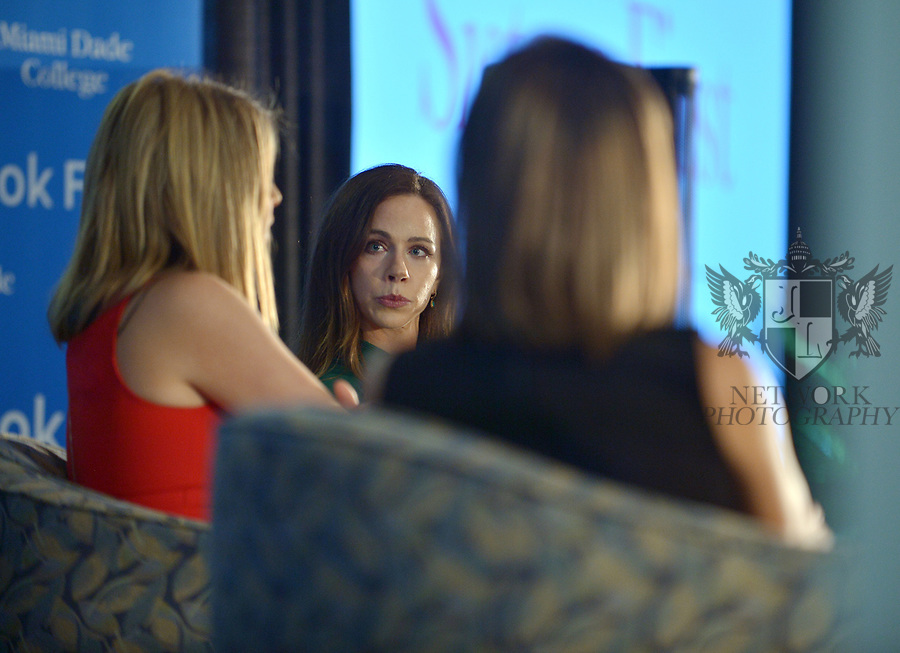 MIAMI, FL - NOVEMBER 16: Jenna Bush Hagar (C) and Barbara Pierce Bush (R) in conversation with Sheli Muniz (L) at The Miami Book Fair at Miami Dade College Wolfson - Chapman Conference Center on November 16, 2017 in Miami, Florida. ( Photo by Johnny Louis / jlnphotography.com )