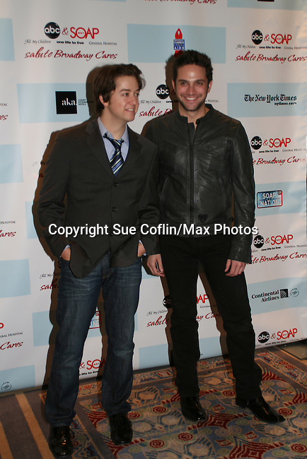 """General Hospital's Bradford Anderson """"Spinelli"""" poses with Brandon Barash as they attend the after party of ABC and SOAPnet's Salutes to Broadway Cares/Equity Fights Aids on March 9, 2009 at the New York Marriott Marquis, New York, NY.  (Photo by Sue Coflin/Max Photos)"""