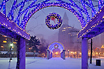 Christmas snow at Christopher Columbus Waterfront Park, Boston, MA, USA