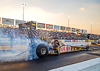 Sep 23, 2016; Madison, IL, USA; NHRA top fuel driver Leah Pritchett during qualifying for the Midwest Nationals at Gateway Motorsports Park. Mandatory Credit: Mark J. Rebilas-USA TODAY Sports