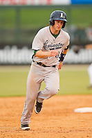 Zachary Johnson #8 of the Lexington Legends hustles towards third base against the Kannapolis Intimidators at CMC-Northeast Stadium on May 20, 2012 in Kannapolis, North Carolina.  The Legends defeated the Intimidators 7-1.  (Brian Westerholt/Four Seam Images)