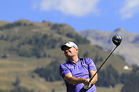 James Morrison (ENG) tees off the 14th tee during Sunday's Final Round 4 of the 2018 Omega European Masters, held at the Golf Club Crans-Sur-Sierre, Crans Montana, Switzerland. 9th September 2018.<br /> Picture: Eoin Clarke | Golffile<br /> <br /> <br /> All photos usage must carry mandatory copyright credit (© Golffile | Eoin Clarke)