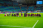 07.10.2018, Red Bull Arena, Leipzig, GER, 1. FBL 2018/2019, RB Leipzig vs. 1. FC N&uuml;rnberg/Nuernberg,<br /> <br /> DFL REGULATIONS PROHIBIT ANY USE OF PHOTOGRAPHS AS IMAGE SEQUENCES AND/OR QUASI-VIDEO.<br /> <br /> im Bild<br /> <br /> <br /> Jubel der Spieler von RB Leipzig nach dem 6:0 Erfolg<br /> <br /> Foto &copy; nordphoto / Dostmann