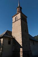 The Church steeple of Notre Dame de la Gorge, Les Contamines, Tour du Mont Blanc, September 2007.