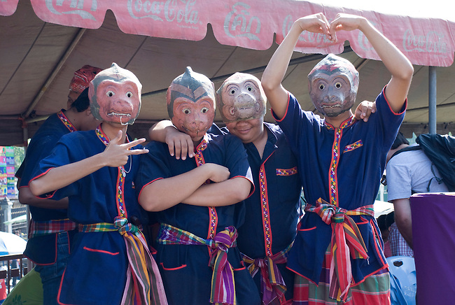 Musicians with Monkey Masks for the Monkey Festival