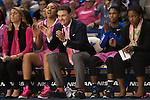 Coach Matthew Mitchell celebrates on the bench during the game against the Arkansas Razorbacks on Sunday, February 21, 2016 in Lexington, Ky. Kentucky won the game 77-63. Photo by Hunter Mitchell | Staff