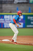Clearwater Threshers Alec Bohm (40) leads off third base during a Florida State League game against the Lakeland Flying Tigers on May 14, 2019 at Spectrum Field in Clearwater, Florida.  Clearwater defeated Lakeland 6-3.  (Mike Janes/Four Seam Images)