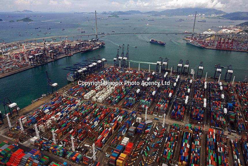 Hong kong port  and harbor operations seen from the air. Hong Kong has one of the largest ports with the biggest turnover of goods in the world.