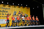 Bahrain-Merida on stage at the Team Presentations for the 105th Tour de France 2018 held on Napoleon Square in La Roche-sur-Yon, France. 5th July 2018. <br /> Picture: ASO/Bruno Bade | Cyclefile<br /> All photos usage must carry mandatory copyright credit (&copy; Cyclefile | ASO/Bruno Bade)