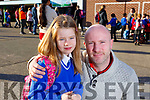 Caitlyn Dennehy ready for her first day in Junior Infants class in CBS NS with her dad Brian on Monday.