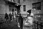 "BROOKLYN -- FEBRUARY 07, 2009:  Rapper Equan ""Aimz"" Jones, 19, stands outside of the Vanderveer Estates apartment complex on February 07, 2009 in Brooklyn. (PHOTOGRAPH BY MICHAEL NAGLE)."