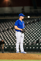 AZL Cubs relief pitcher Brendan King (55) prepares to deliver a pitch to the plate against the AZL Diamondbacks on August 11, 2017 at Sloan Park in Mesa, Arizona. AZL Cubs defeated the AZL Diamondbacks 7-3. (Zachary Lucy/Four Seam Images)