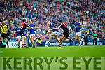 Peter Crowley Kerry in action against Tom Parsons Mayo in the All Ireland Semi Final in Croke Park on Sunday.