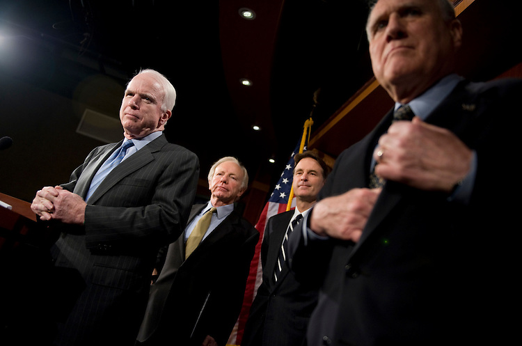 From left, Sens. John McCain, R-Ariz., Joe Lieberman, I-Conn., Evan Bayh, D-Ind., and Jon Kyl, R-Ariz., conduct a news conference about sanctions on Iran, Feb. 11, 2010.