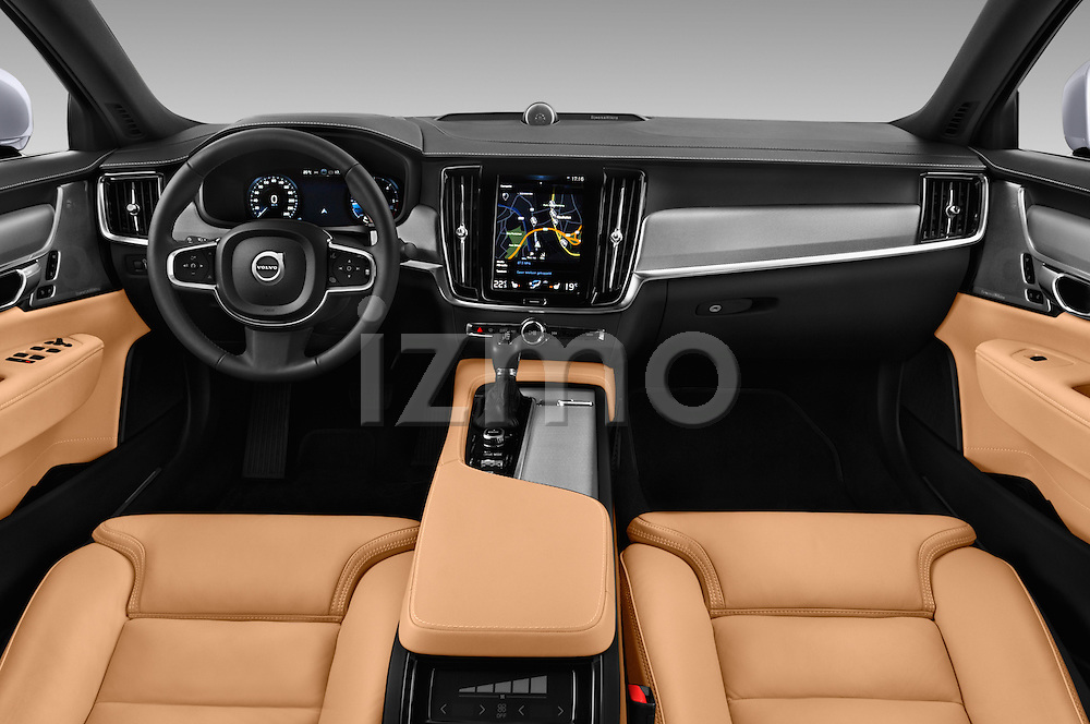 Stock photo of straight dashboard view of 2017 Volvo S90 Inscription 4 Door Sedan Dashboard