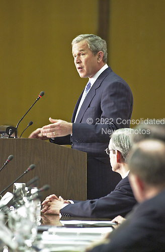 United States President George W. Bush speaks to the Council of the Americas at the US Department of State in Washington, DC on May 7, 2001.  In his remarks, The President said he would ask Congress for Fast Track Trade authority this week.<br /> Credit: Ron Sachs / Pool via CNP