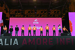 CCC Team on stage at the Teams Presentation held in Piazza Maggiore Bologna before the start of the 2019 Giro d'Italia, Bologna, Italy. 9th May 2019.<br /> Picture: Fabio Ferrari/LaPresse | Cyclefile<br /> <br /> All photos usage must carry mandatory copyright credit (&copy; Cyclefile | Fabio Ferrari/LaPresse)