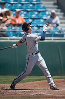 Lancaster JetHawks catcher Brian Serven (6) follows through on his swing during a California League game against the San Jose Giants at San Jose Municipal Stadium on May 13, 2018 in San Jose, California. San Jose defeated Lancaster 3-0. (Zachary Lucy/Four Seam Images)