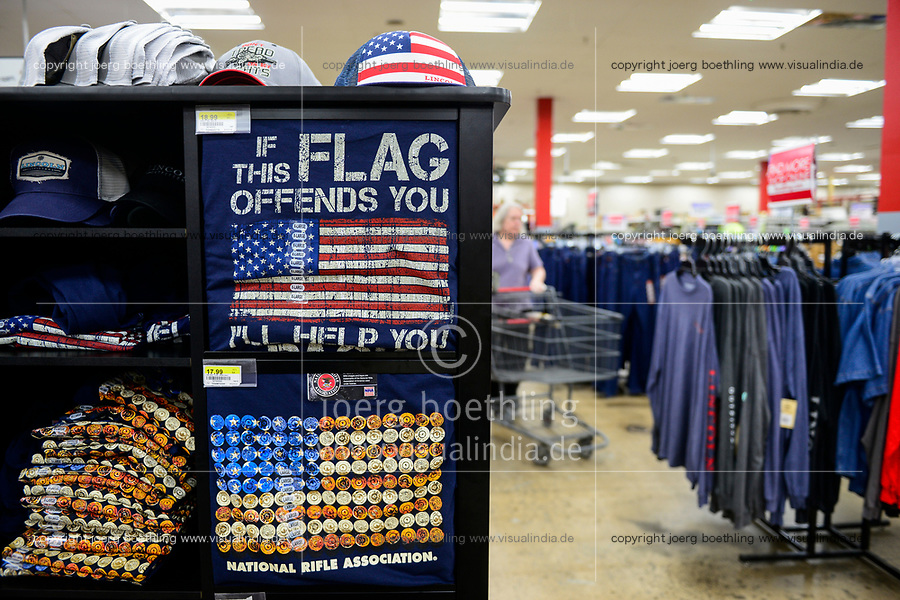 USA, Virginia, Front Royal, super market rural king, T-shirts with NRA National Rifle Association advertisement, US flag with bullets