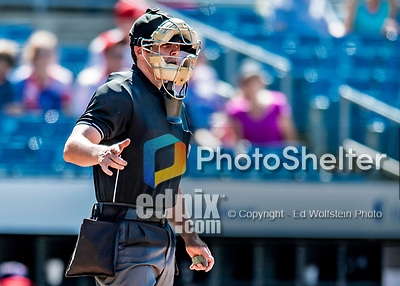22 July 2018: MiLB Umpire Richard Riley works home plate during a game between the Louisville Bats and the Syracuse SkyChiefs at NBT Bank Stadium in Syracuse, NY. The Bats defeated the Chiefs 3-1 in AAA International League play. Mandatory Credit: Ed Wolfstein Photo *** RAW (NEF) Image File Available ***