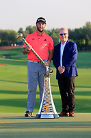 Jon Rahm (ESP) winner of the DP World Tour Championship and Race to Dubai with Keith Pelley SEO European Tour at the Jumeirah Golf Estates, Dubai, United Arab Emirates. 24/11/2019<br /> Picture: Golffile | Fran Caffrey<br /> <br /> <br /> All photo usage must carry mandatory copyright credit (© Golffile | Fran Caffrey)